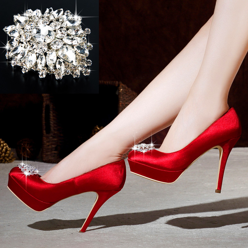 a4aef4e30a8c Get Quotations · 2016 new wedding shoes red satin wedding shoes waterproof  heels shoes diamond white bridal shoes wedding