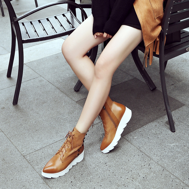 2016 new winter leather casual boots martin boots female british style flat with flat lace boots single boots female spring and autumn
