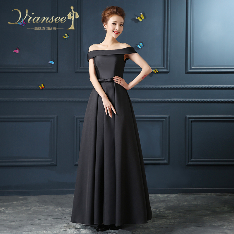 2016 new winter word shoulder black evening dress long section hosted the annual meeting dress evening banquet will be satin slim