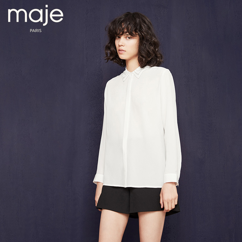 2016 new women's autumn and winter maje silk solid color exquisite three H16CAMISA collar white shirt