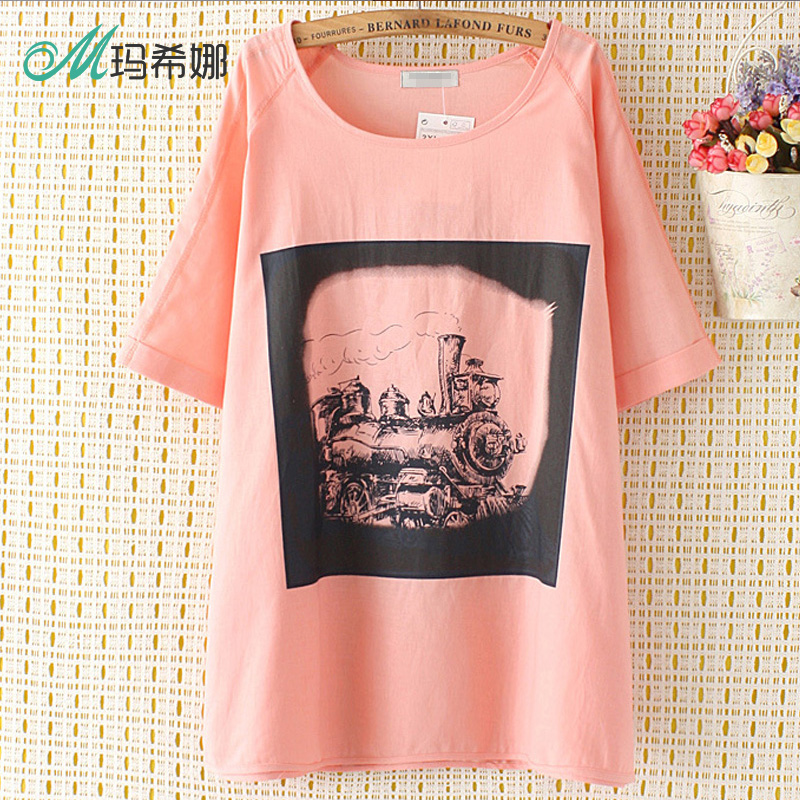 2016 paragraph summer t-shirt large size women fashion fat mm was thin short sleeve t-shirt train printed flowers bottoming shirt influx of 200