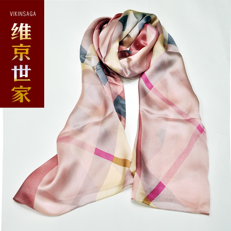 2016 silk scarf female spring and autumn new 100% silk scarf silk scarf female long section of female fashion plaid scarf