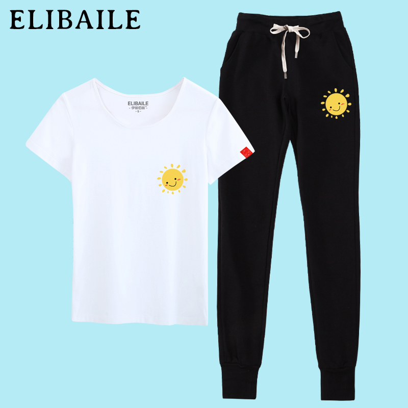 2016 sports suit female trousers summer fashion korean student t-shirt loose large size sportswear piece tide