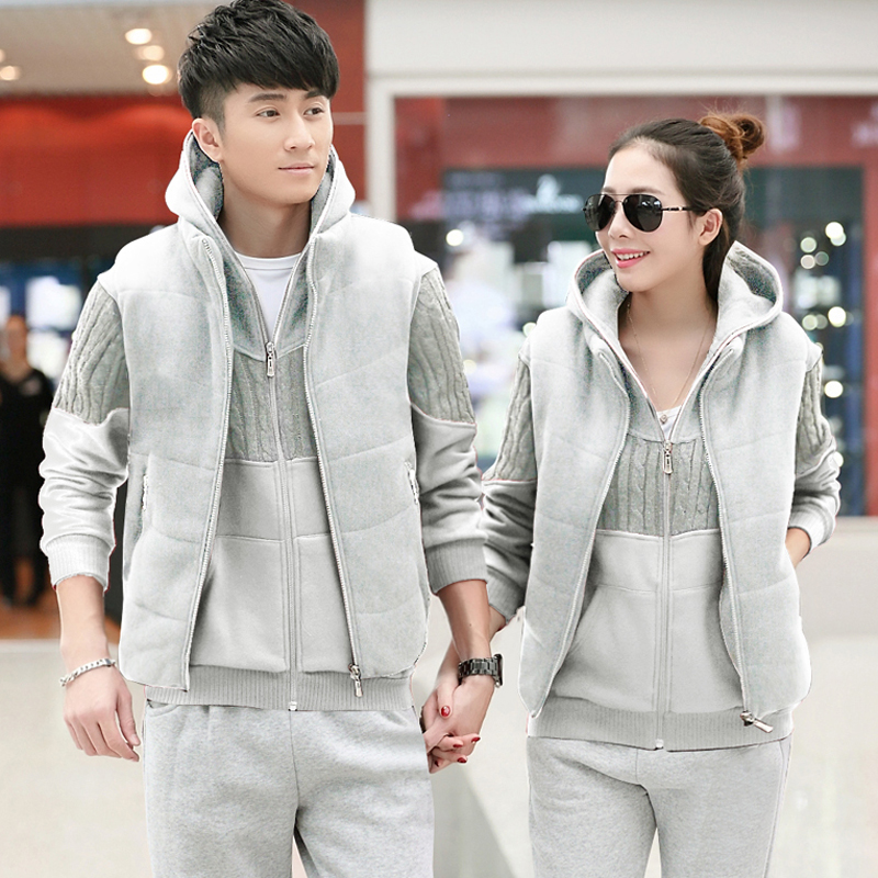 2016 spring and autumn and winter new authentic sportswear hooded cardigan men and women couple big yards sports suit three sets