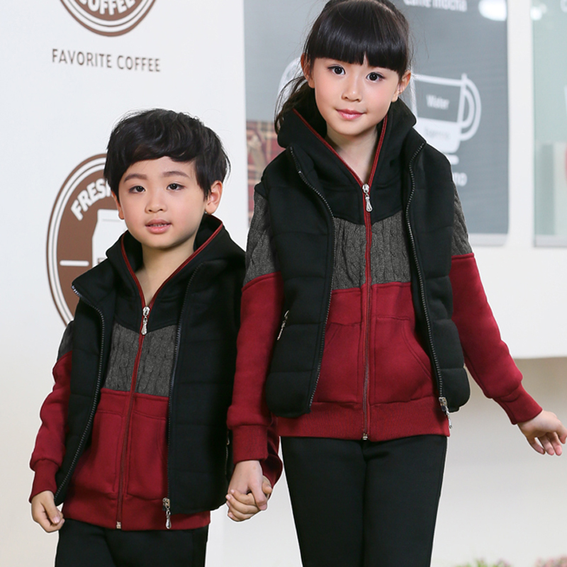 2016 spring and autumn baby clothes children sports suit three sets plus thick velvet winter boys and girls small medium large kids