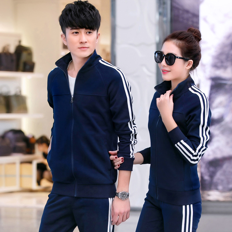 2016 spring and autumn couple track suit sportswear big yards sweater female sports leisure suit collar men clothes korean