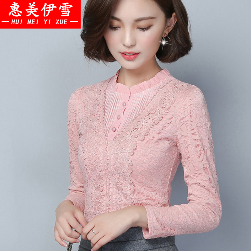 2016 spring and autumn new large size women plus thick velvet high collar lace bottoming shirt female autumn and winter long sleeve shirt tide