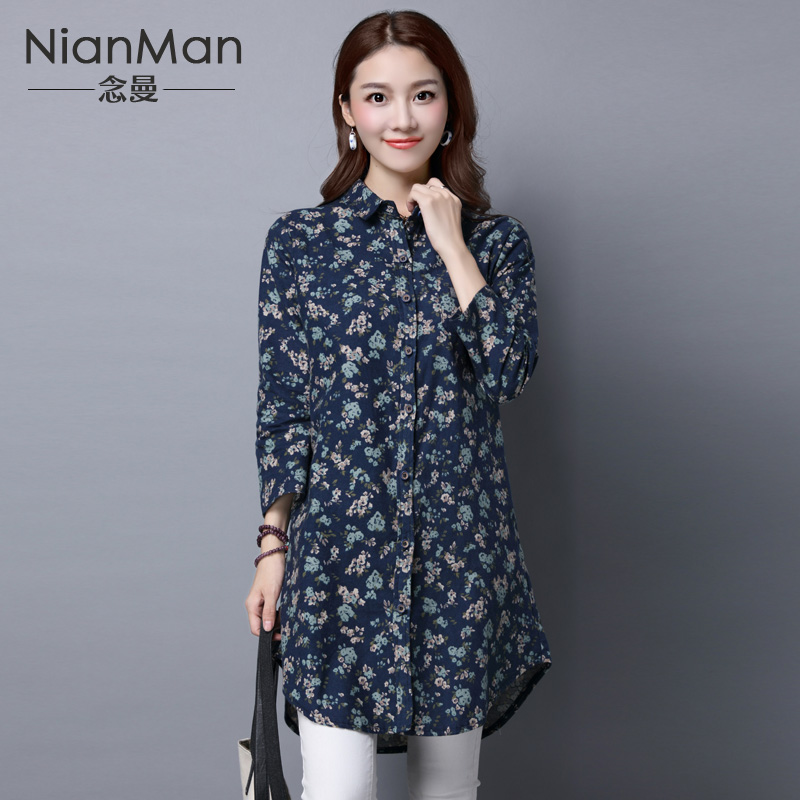 2016 spring and autumn new national wind big yards long sleeve shirt female loose long section of double collar cotton floral blouse