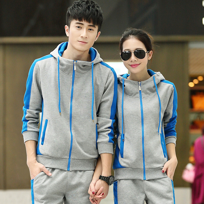 2016 spring and autumn new sports suit lovers hooded cardigan sportswear mixed colors influx of men and women long sleeve shirt and trousers