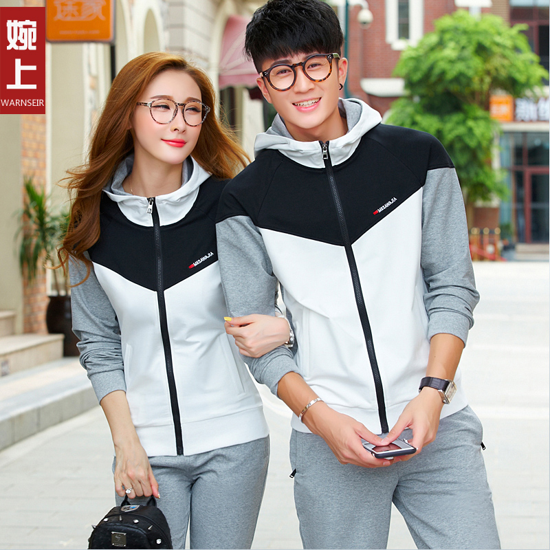 2016 spring and autumn sports suit sportswear suit female autumn couple models sportswear men's sports suit long sleeve hooded cardigan