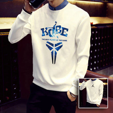 2016 spring and autumn white sweater tide male korean hedging loose round neck sports basketball clothes big yards coat