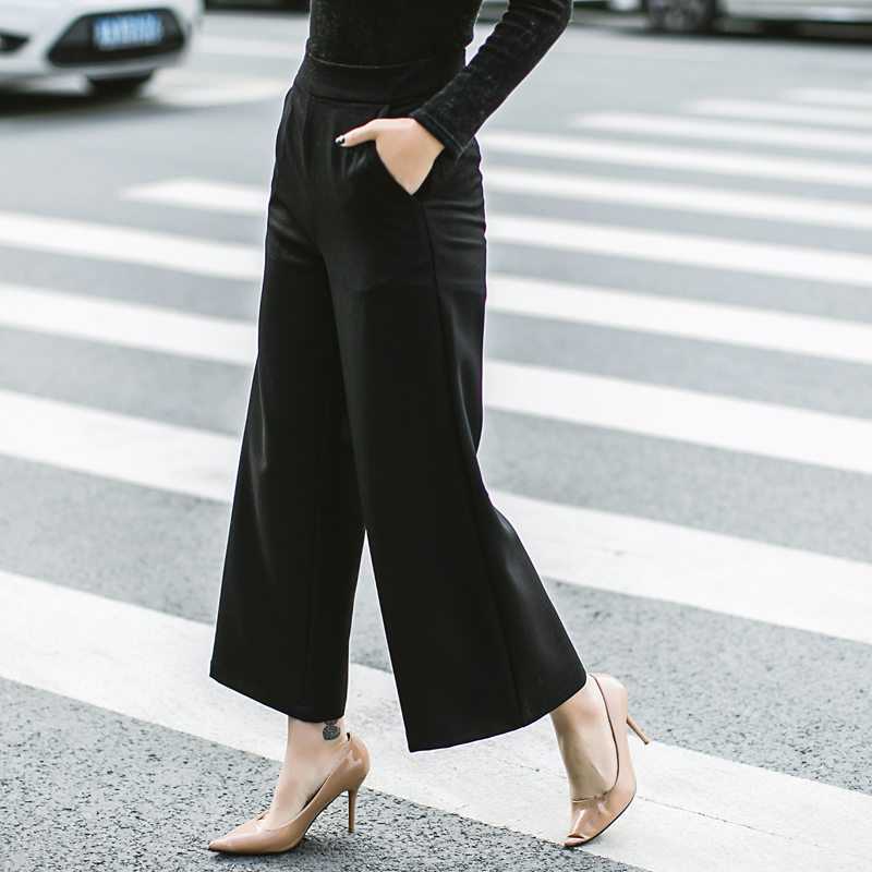Women's Clothing Supply Fashion Hot Womens M-5xl Pants High Waist Wide Leg Culottes Long Trousers Casual Loose Pants Black White