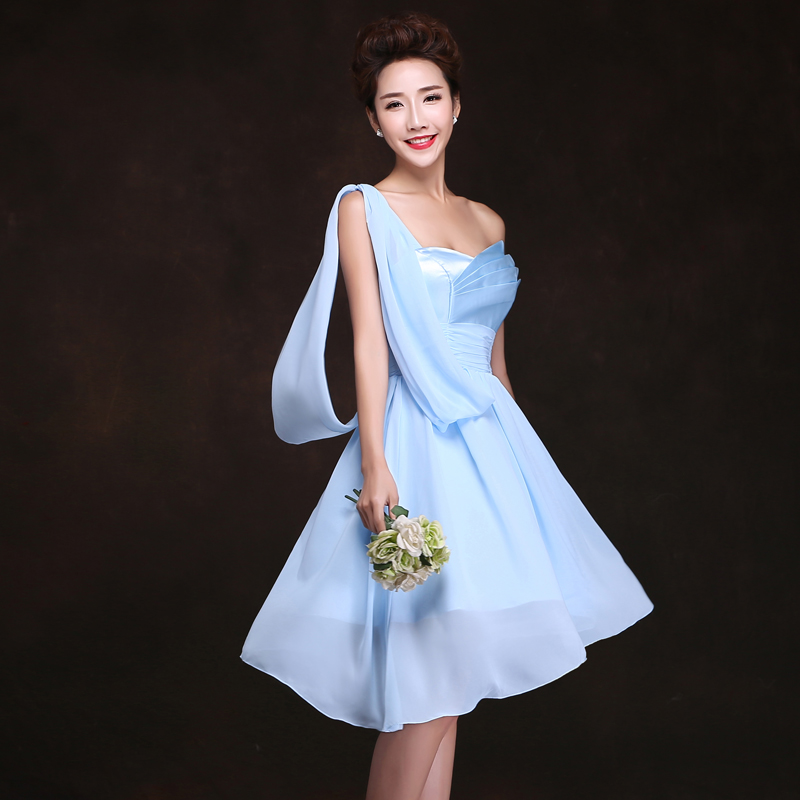 2016 spring and summer new blue dress sisters wedding dress bridesmaid dress short paragraph slim dress wedding bridesmaid group