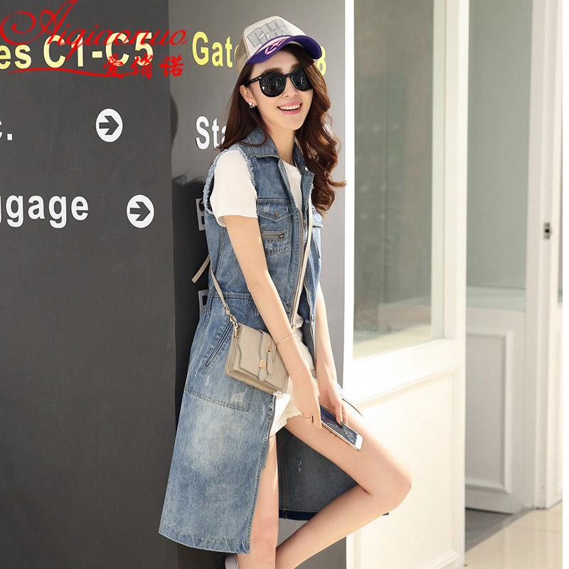 2016 spring and summer new fashion denim vest and long sections women korean slim wild vest vest waistcoat tide