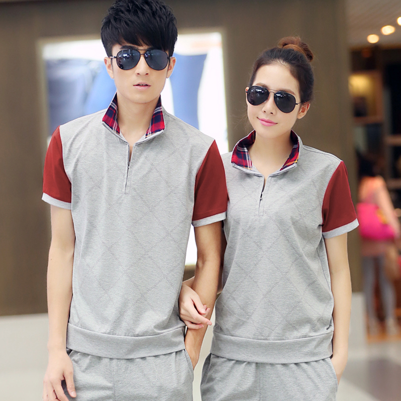 2016 spring and summer new korean men and women sports t-shirt size yard casual short sleeve t-shirt couple models hedging sweater