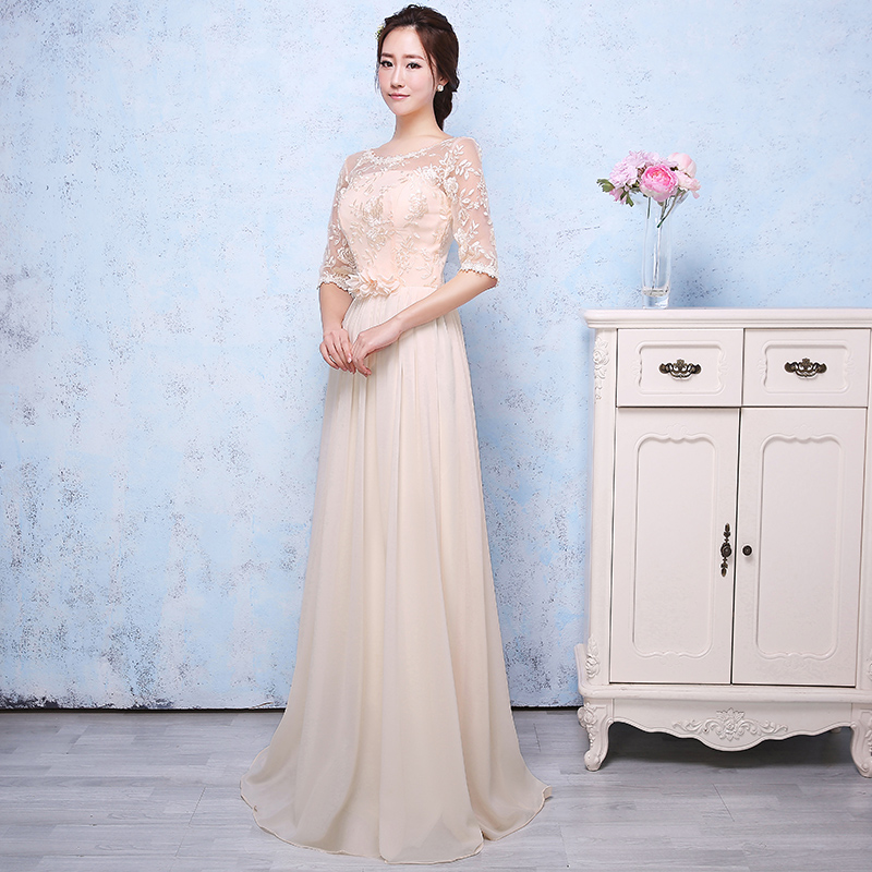 2016 spring and summer new korean version of champagne bridesmaid dress long section of the sister group bridesmaid dress sister skirt dress banquet evening dress