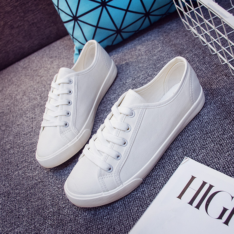 2016 spring and summer new literary wild casual shoes to help low white shoes women shoes korean version of the influx of female students canvas shoes