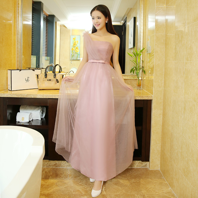 2016 spring and summer new shoulder bridesmaid dress long paragraph bridesmaid dresses sister group bridesmaid dress slim banquet evening dress ladies