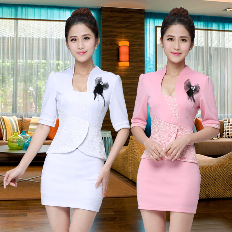 2016 spring and summer new sleeve dress nightclub stewardess miss ktv nightclub princess beautician hotel uniforms female panel
