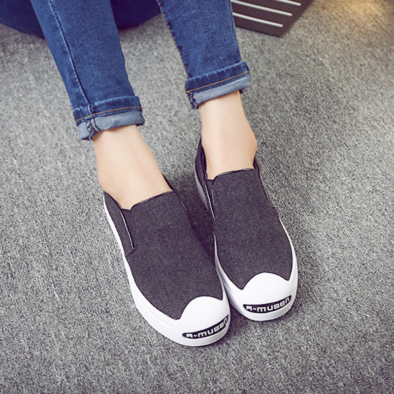 2016 spring bottomed loafers shoes lazy shoes korean version of the open laugh canvas shoes women flat casual shoes board shoes