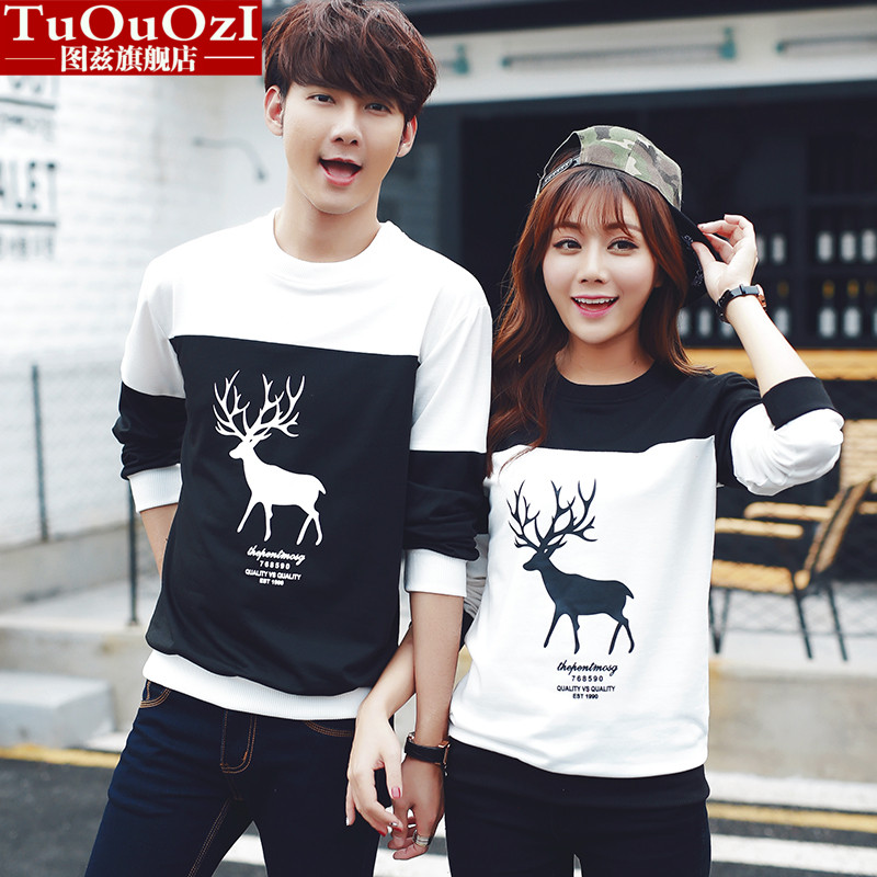 2016 spring couple sweater coat round neck long sleeve cartoon deer bottoming shirt printing male and female students in class service tide