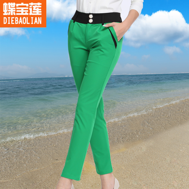 2016 spring models significantly thin waist pencil pants female trousers thin section korean version of the influx of women's large size was thin