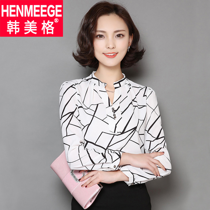 2016 spring new korean version of the v-neck casual chiffon shirt printing large size women long sleeve slim was thin bottoming shirt