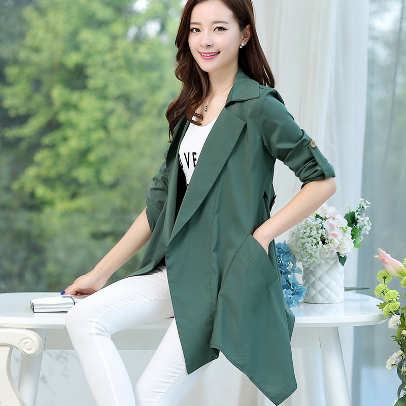 2016 spring new large size women thin coat spring korean version nine points sleeve loose long section was thin coat