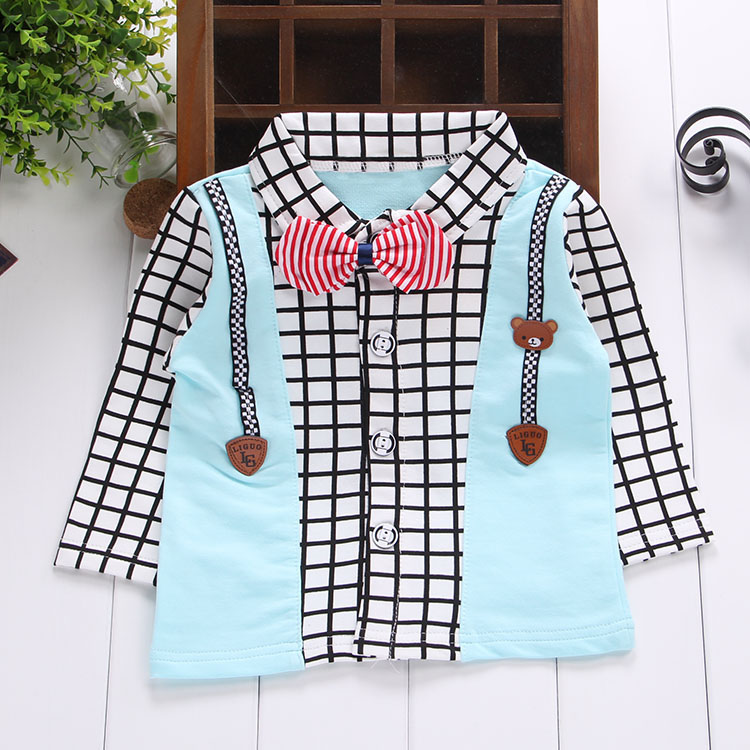 2016 spring new male baby clothes korean version of the shirt long sleeve plaid shirt gentleman tie strap Q872