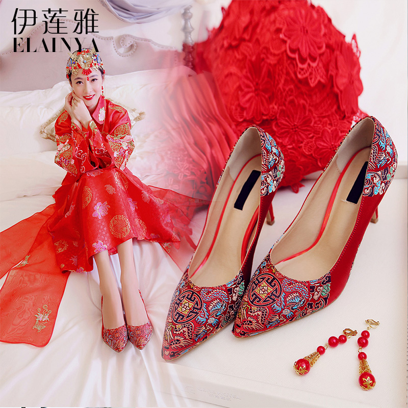 2016 spring new red shoes ethnic shoes wedding shoes bridal shoes wedding shoes high heels wedding shoes