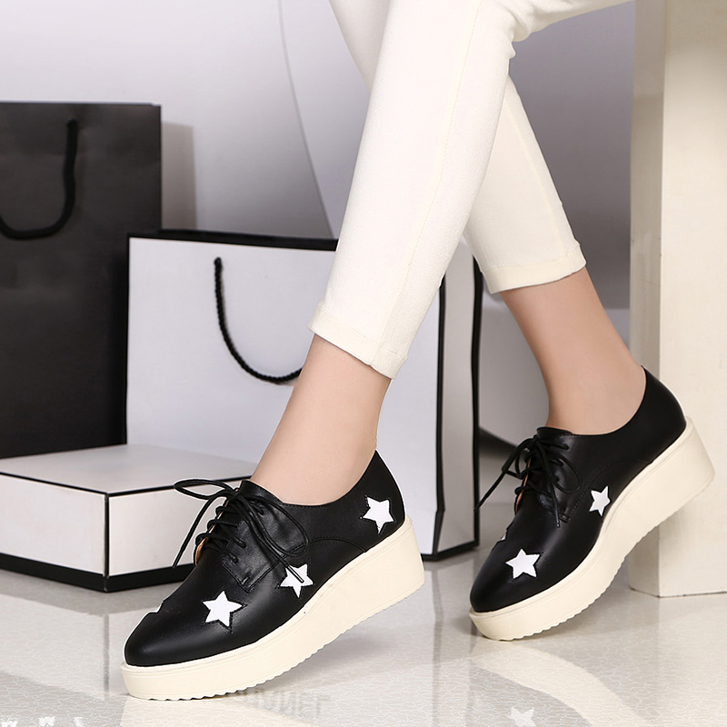 2016 spring new singles shoes thick crust star with money cindy bailey leather loafers shoes flat shoes thick crust star