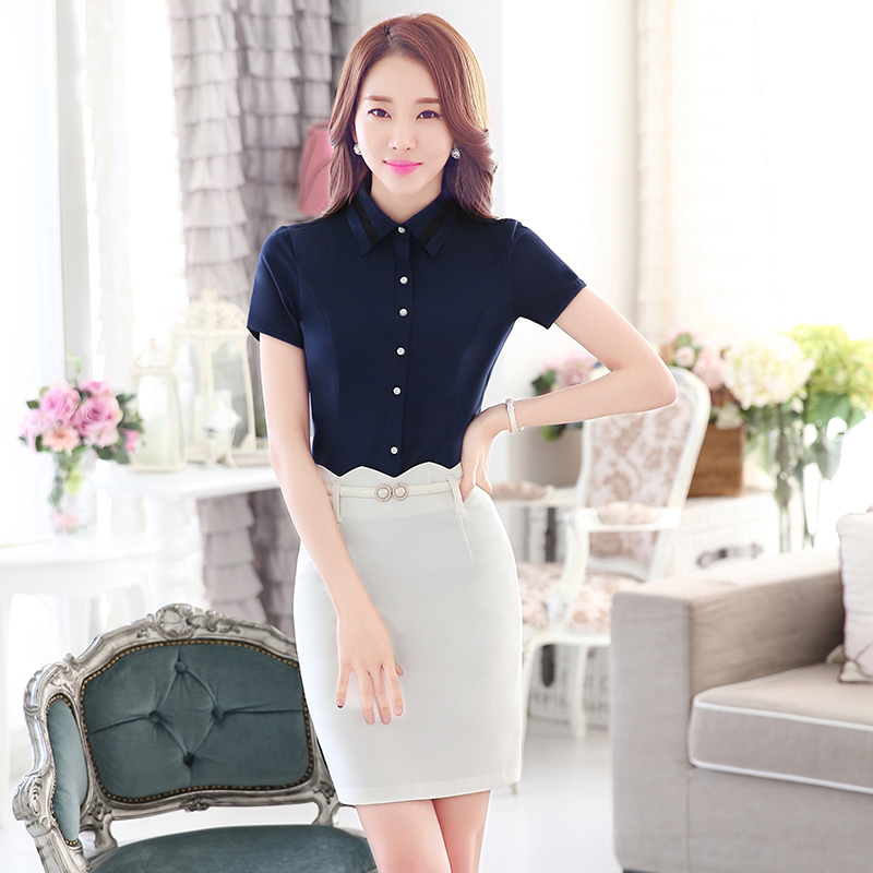 2016 spring new women wear dresses ol short sleeve white shirt slim korean version of the perfect dress overalls suit