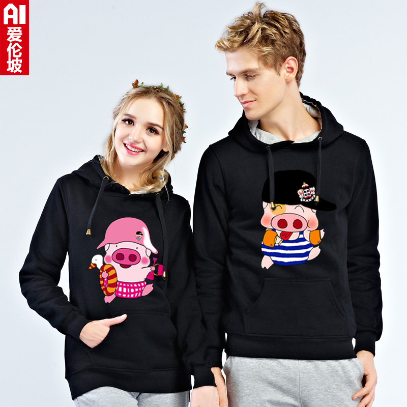 2016 spring teen couple mcdull pig cartoon printing hedging hooded sweater female coat tide male students