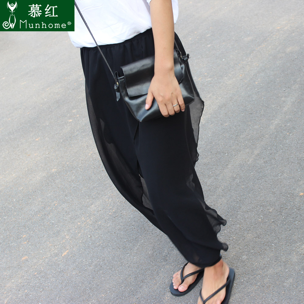2016 spring women's black casual chiffon skirt was thin wide leg pants harem pants stretch pants feet nine points pants tide