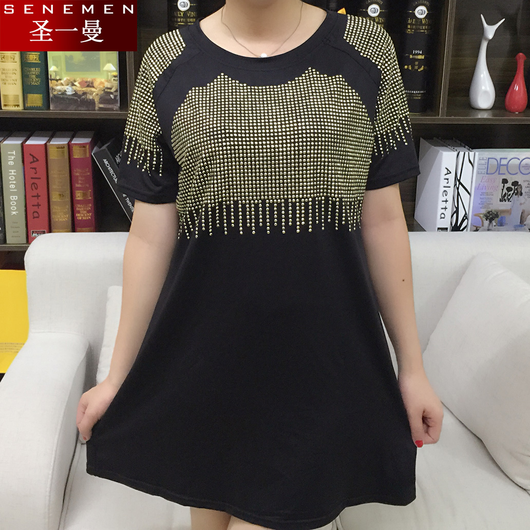 2016 summer dress 200 of fat sister new large size women plus fertilizer to increase gold color show diamond drilling hot