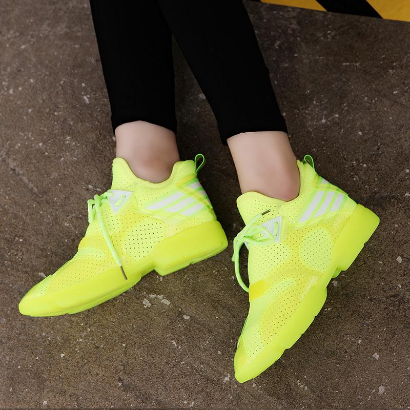 2016 summer european leg of candy color fluorescent color shoes breathable mesh sports shoes increased leisure shoes korean female tide