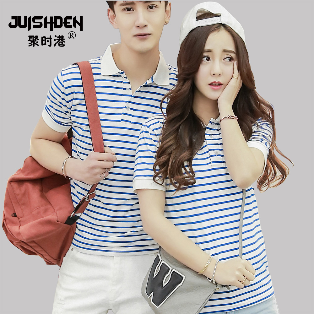 2016 summer influx of korean students loaded slim men and women lovers striped short sleeve t-shirt polo shirt class service