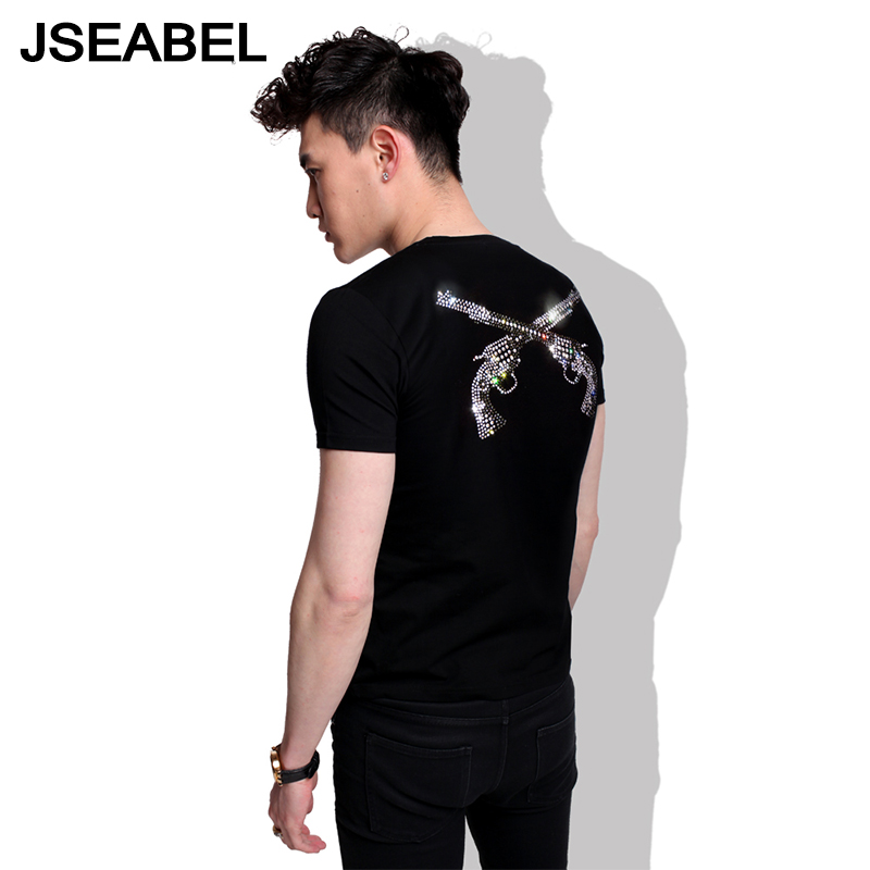 2016 summer jseabel spear mmj skull rhinestone tide brand men short sleeve t-shirt lovers big yards cotton