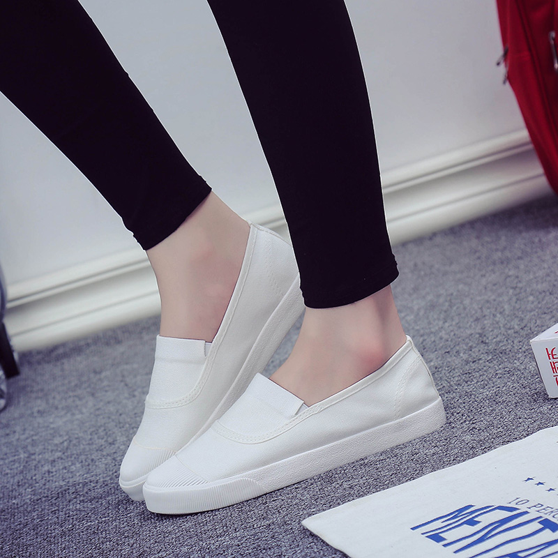 2016 summer korean version of a pedal canvas shoes women low shoes shell head shoes women shoes white shoes flat shoes