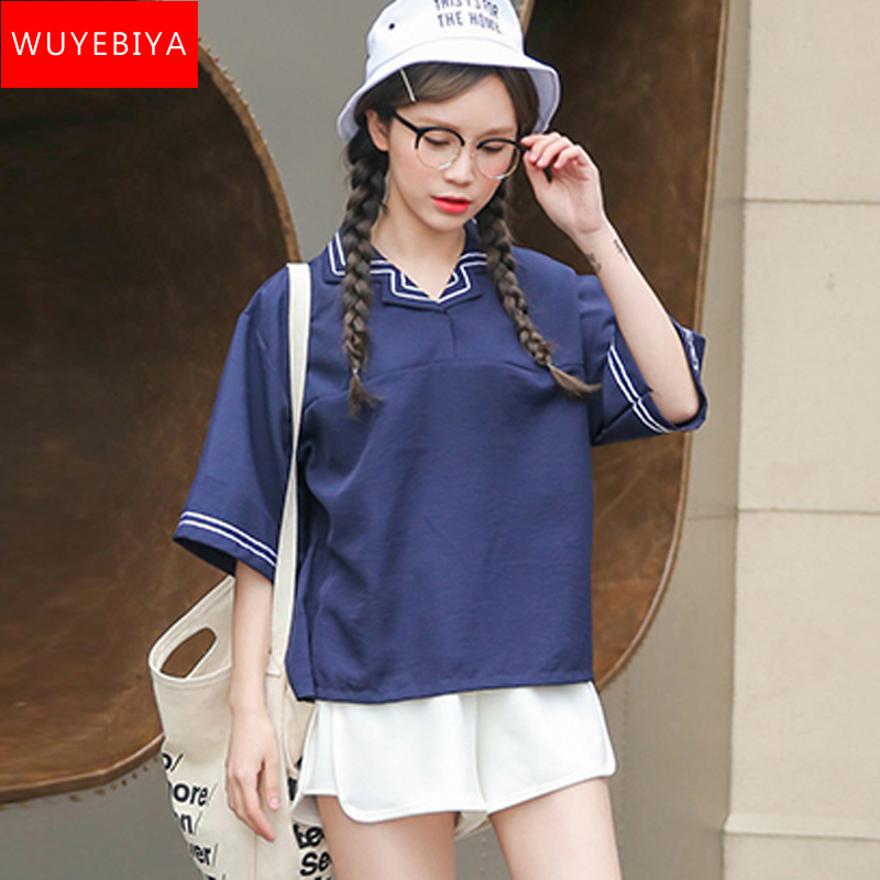 2016 summer korean version of adolescent girl navy wind fifth sleeve t-shirt junior high school students loose short coat