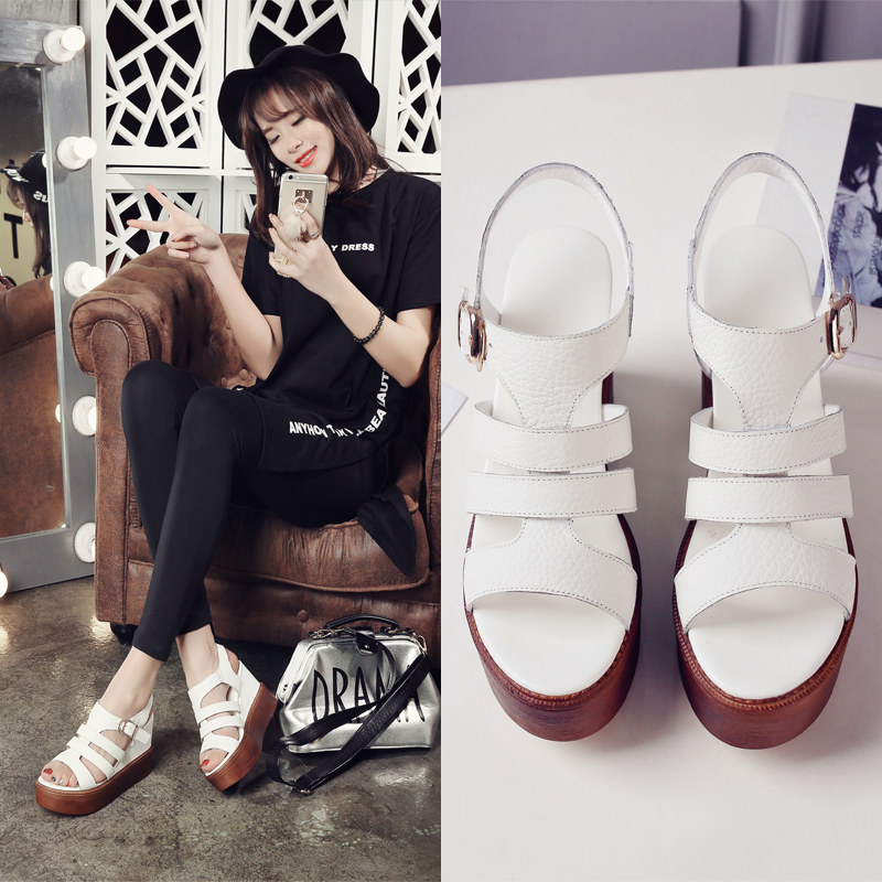 2016 summer korean version of fashion leather sandals slope with high heels shoes korean shoes tide shoes cow leather buckle sandals child