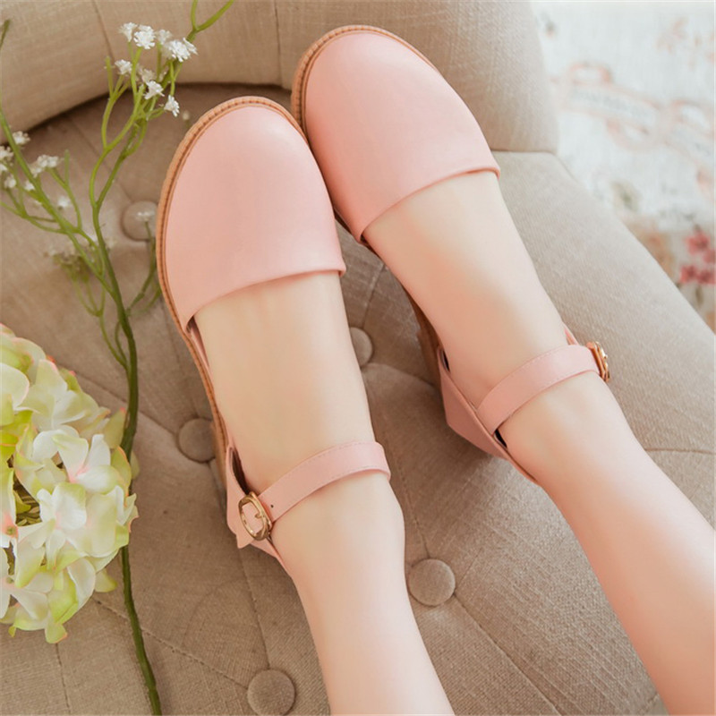 Get Quotations 2018 Summer Korean Version Of The New Mori Cute Girl Baotou Sandals Buckle Flat Shoes Student