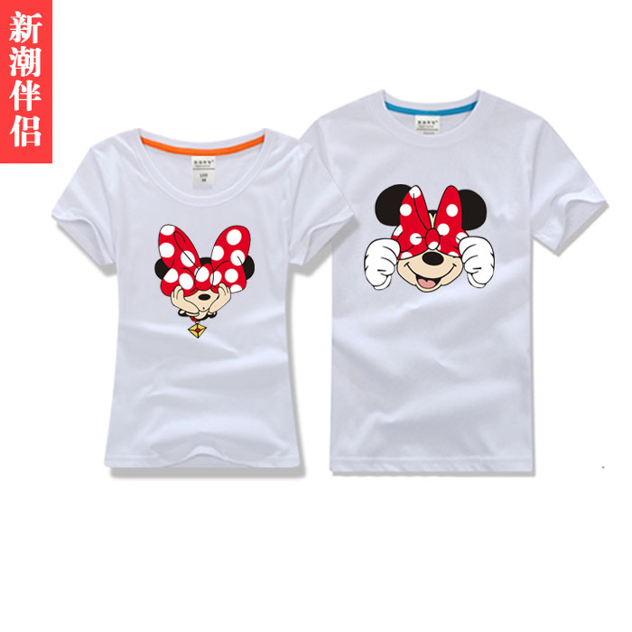 2016 summer male and female models bow cotton t-shirt slim korean female couple short sleeve