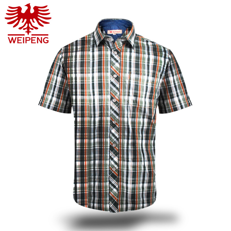2016 summer men short sleeve plaid shirt peng green orange and white men's fashion casual shirt 263128
