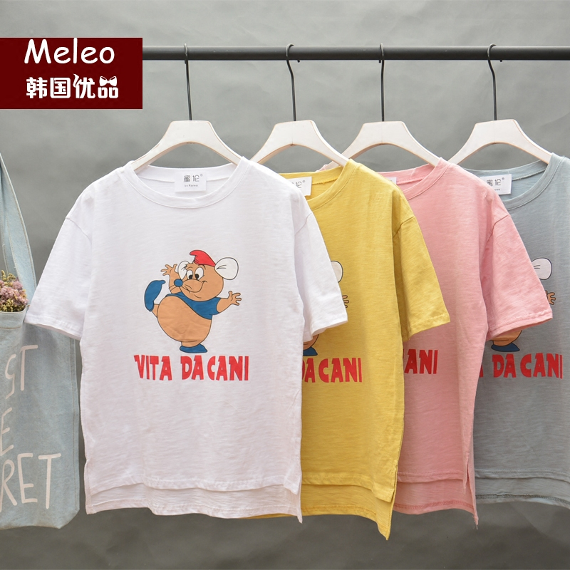 2016 summer models playful slubby cotton short sleeve t-shirt south korea bf wind loose influx of japanese sweet female cartoon short sleeve shirts