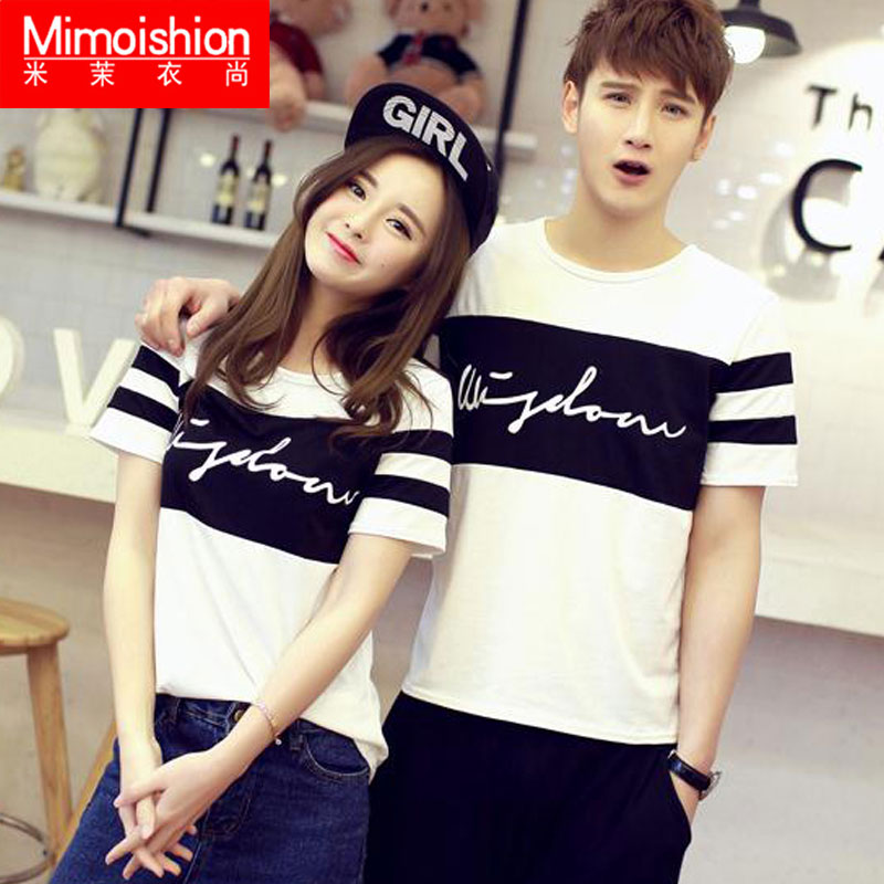 2016 summer new black and white stitching lovers korean cotton short sleeve t-shirt large size men and women of letters student class service