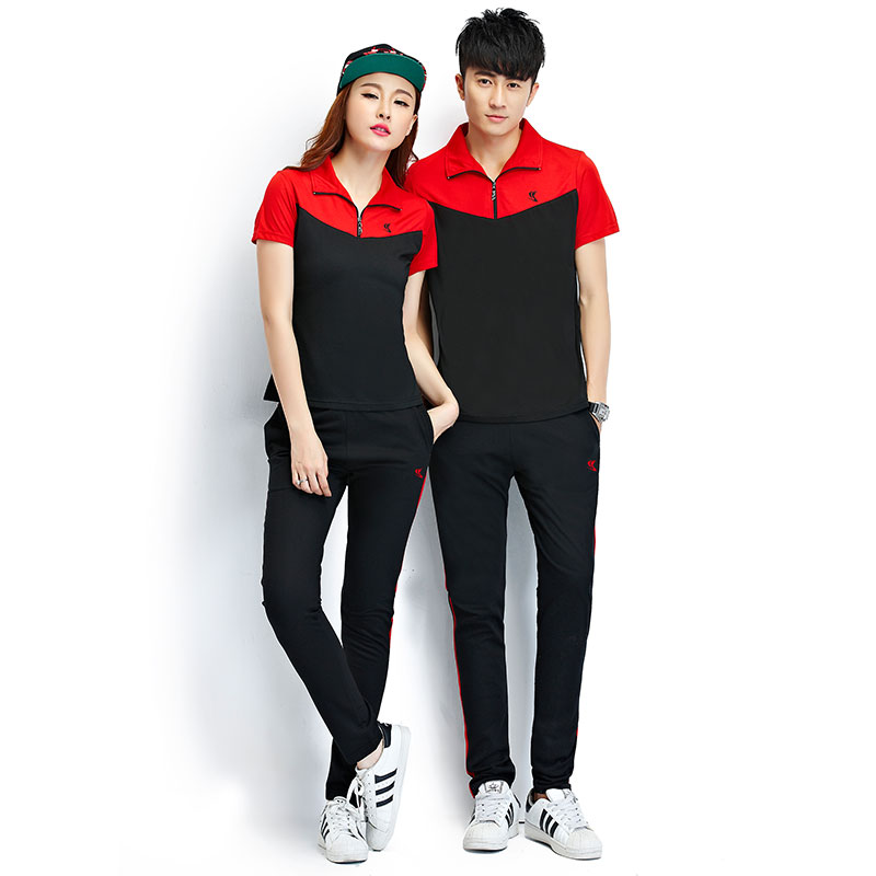 2016 summer new couple track suit sportswear suit men summer short sleeve sportswear jogging trousers female casual piece