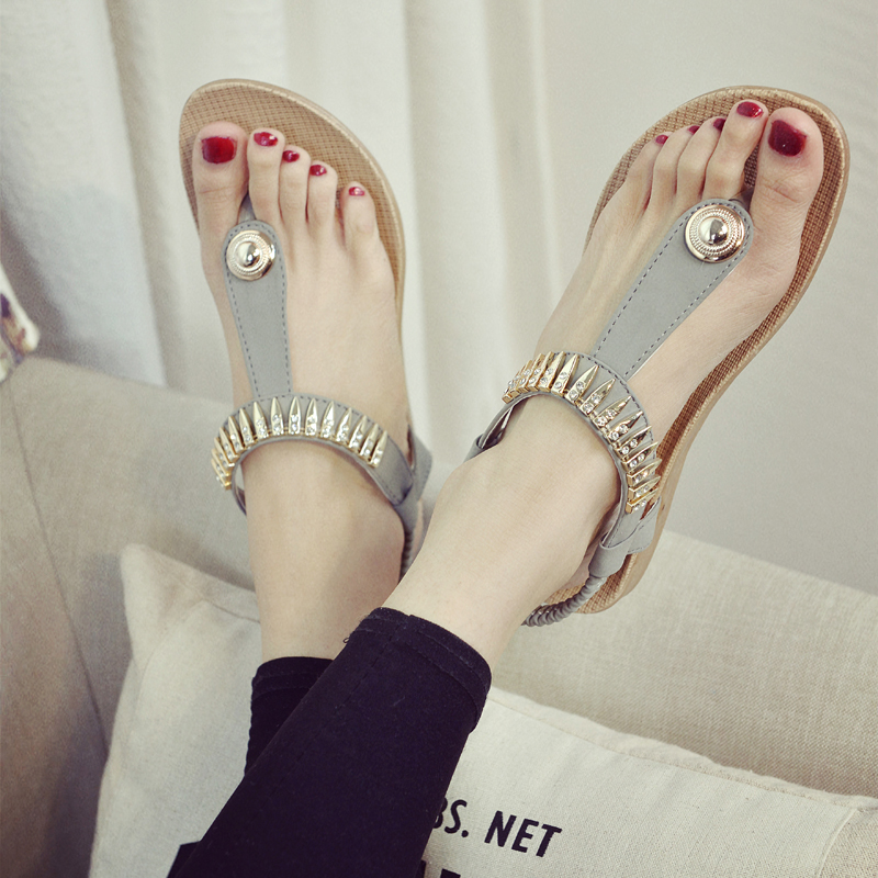 27ed9461f71e37 Get Quotations · 2016 summer new european and american tide cool rhinestone  metal flat with clip toe flat sandals