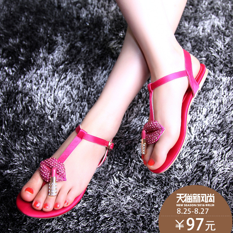 92fdb1219b80a Get Quotations · 2016 summer new flat thong sandals rhinestone lips female  student shoes flat shoes sandals shoes bohemia
