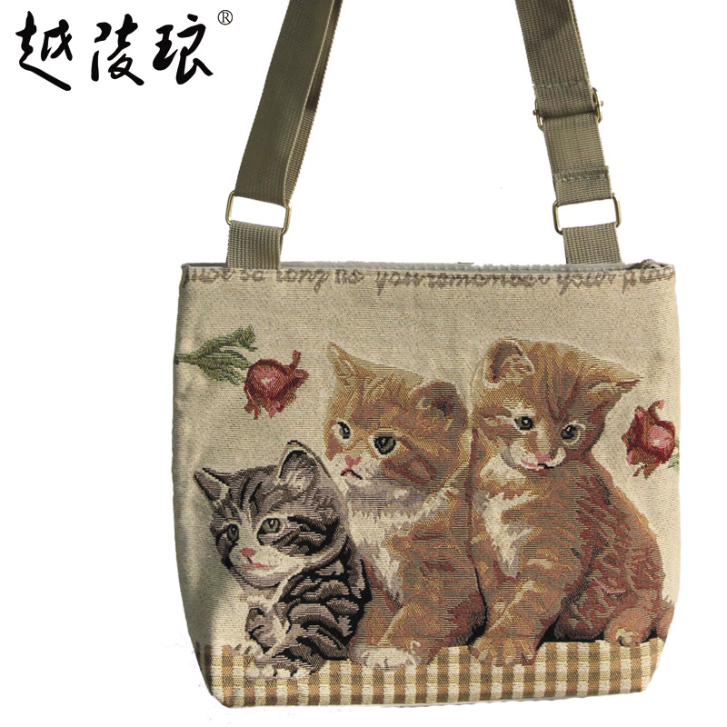 2016 summer new handbag korean fashion cute cartoon cat canvas shoulder bag diagonal package small bag